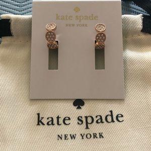 Kate Spade Gatsby Dot Huggies rose gold earrings